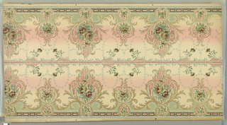 Printed two across. Alternating large and small foliate medallion, each containing a floral motif. Background shades from light tan to pink to light tan.