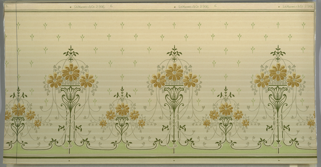 Stylized floral bouquet, alternating between tall motif with three flowers and short motif with five flowers. Vines hang from each bouquet. Very stylized floral motif in background, printed in diagonal rows. Green band along bottom edge.