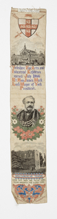 "Bookmark woven to show commemorative pictures, inscriptions. Top to bottom: a coat of arms of York; large building topped with flags, inscription ""Yorkshire Fine Arts and Industrial Exhibition opened July 1866 Rt. Hon. James Meek Lord Mayor of York, President"", garlanded portrait of a man, Roman ruins, and the inscription: ""MULTANGULAR TOWER Each ivi'd arch and pillar lone, plead haughtily for glories gone."" At bottom, heart-shaped motif with floral accents in red and blue. Colors: black, grey, orange, purple, green, on white ground."