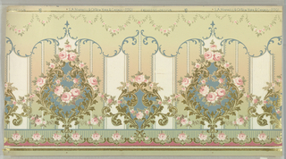 Flitter frieze. Large floral medallion alternating with smaller floral medallion. Each contains rose swags. Printed on broad striped background, with scrolling foliate band and petite rose swags across top edge.