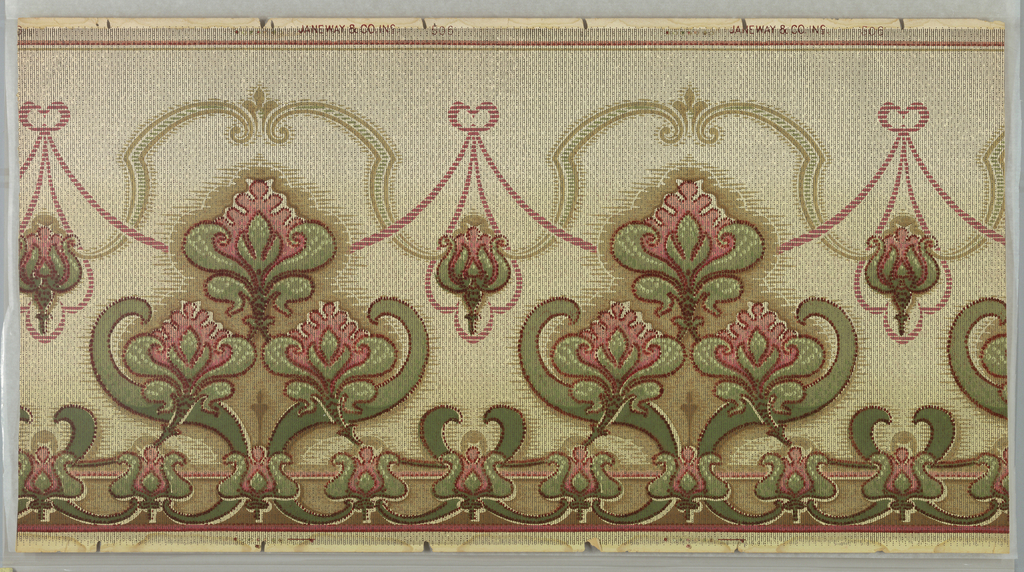 Horizontally repeating pattern of ribbon-like swag and trefoil medallions composed of stylized foliate motifs. Trompe l'oeil effects are used to make this machine-printed wallpaper resemble a woven tapestry. Pattern is printed in greens, pinks, reds, and grays on a tan background.