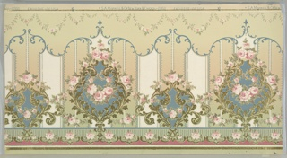 Flitter frieze with large floral medallion alternating with smaller floral medallion. Each contains rose swags. Printed on broad striped background, with scrolling foliate band and petite rose swags across top edge.