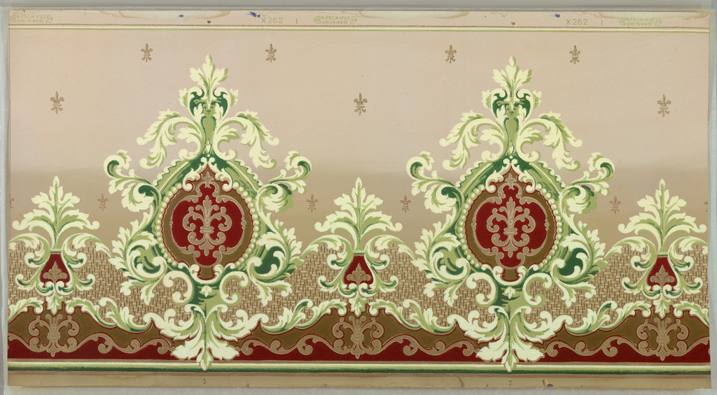 Large-scale foliate medallions, each containing a fleur-de-lis. Pritned in tan, green and off-white on a background that is light tan on top half and darker tan on bottom half.