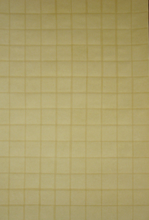 All-over tan grid pattern of four inch squares, created with cut paper squares with ¼ inch overlap.