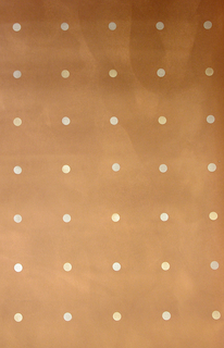 One inch circles of metallic colors brushed over a metallic copper background.