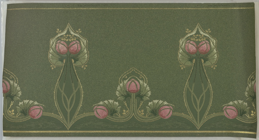 Stylized floral motifs. Pairs of two on long stems, alternating with group of three on short stem. Each grouping is outlined in gold. Printed on deep green oatmeal paper.