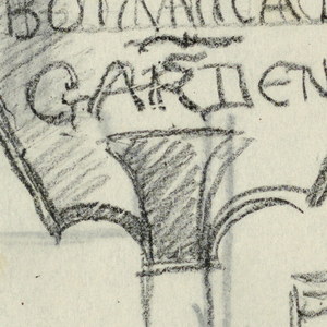 """Design for signpost to be executed in iron. Atop the post, a panel with the words """"BOTANICAL / GARDENS."""" Additional sketches throughout sheet."""