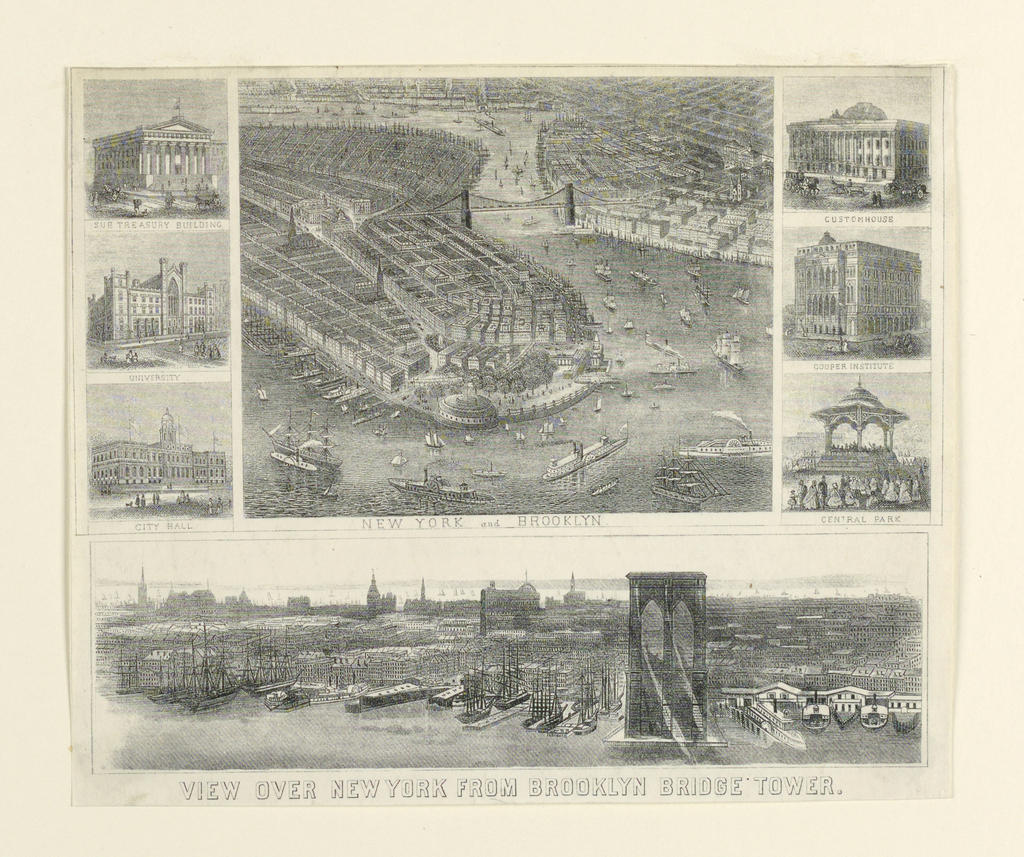 Print, View over New York from Brooklyn Bridge Tower