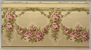 "Mission/art nouveau style. Large floral pendants and swags of pink roses and green leaves, outlined by a tin cream-colored leafy vine, which hang from a brown knotted ribbon outlined by beading and the same leafy vine. Ground shades dark to light beige from bottom to top. Printed in selvedge: ""Hobbs. Benton & Heath.""; pattern number ""3380"" ""FM"""