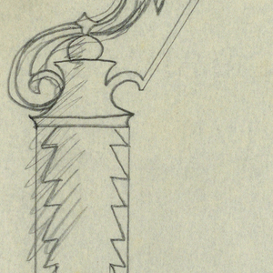 Design for a signpost to be executed in iron. Attached to the post via a tall bracket is a hanging panel with an arrow above pointing right.