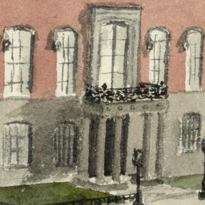 """Large house of red brick; Renaissance façade with porticoed entrance of columns and balcony overhead. Captioned """"Hewitt House, 9 Lexington Ave""""."""