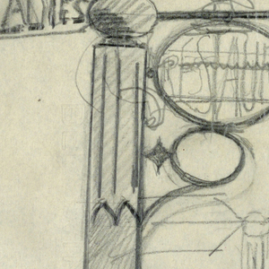 "Designs for signposts to be executed in iron, each with arrows pointing right and the word ""RESTAURANT"" within a circular or rectangular sign panel. Design at upper left also contains the word ""LADIES"" at the rear of the arrow."