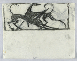 Within a rectangular frame at top of sheet, a figural design featuring two hounds rendered in charcoal, their bodies overlapping. Additional sketches of hound animal figures in graphite.