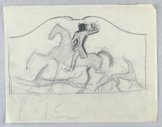 Design for a firescreen to be executed in iron, the decorative scheme composed of a figure on horseback, his arm raised, with two hounds at the horse's feet. At lower left, sketchy lines in graphite.