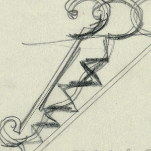 "Design for Botanical Gardens signpost to be executed in iron. A sign panel with the words ""BOTANICAL / GARDENS"" is mounted to an elaborate ornamental bracket and ""SCALE =/ FOOT"" is outlined on lower right."