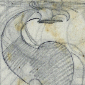Design for signpost to be executed in iron. Within a bracket, a bird facing right with elaborate feathers; an arrow above the figure pointing right. At left, vertically: BIRDS.