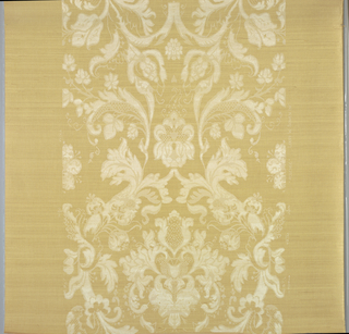 """Floral and foliage scrolled design in opaque and translucent white on yellow silk gauze backed with paper. On margin: """"Louis W. Bowen, Inc."""""""