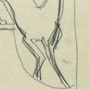 "Design for signpost for to be executed in iron. A bracket with arrow pointing left, with the words ""SMALL MAMMALS."" Below, a figure of a fox."
