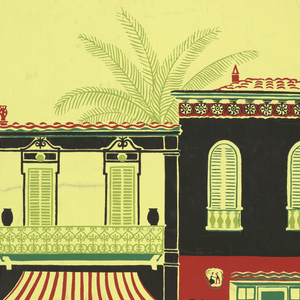 a) Yellow ground, In center, front elevation of large Creole-style house in red, black and green. Small motifs of baskets with flowers above and below house; b) Color variant of above. Two shades of violet and brown.