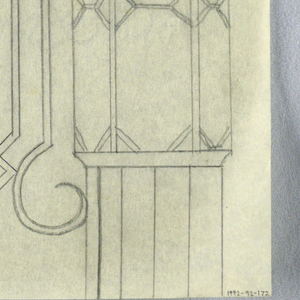 Design for a signpost with lamp to be executed in iron and glass. The lamp at the top of the post composed of geometric glass panes in a mosaic style. Attached to the lamp via an elaborate curving bracket in Art Deco style is a small sign panel.