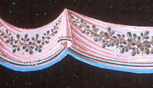 Ornamental border cut in scallops, following contours of simulated drapery valance of pink material with border in green, blue and black, enriched across face with sprays of mistletoe in green, black and yellow. Printed on blue ground.