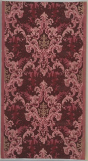 Large foliate medallions in vertical lines that are offset. Underneath each medallion are floral swags with roses. In the background there is a stylized landscape pattern. Grounding is dark pink. Printed in reds, pinks, metallic gold, and black.