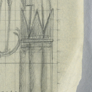 """Design for a signpost for the Central Park Zoo to be executed in iron. Within a bracket, a figure of a crane perched on a serpentine curve. Above, an arrow with a sign reading """"RESTROOM."""" Numbered grid in background for scale."""