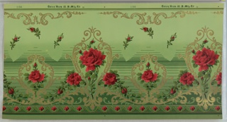 Alternating large and small metallic gold medallions, each inset with large dark pink rose. Connected by metallic and floral scrolls. Top has green stripes and metallic scrolling motif. Bottom has scalloping floral pattern. Ground fades from dark green (bottom) to light green (top). Background of rosebuds and variating horizontal green stripes. Printed in selvedge: Carey Bros. W. P. Mfg. Co 111 [Pattern Number:] 1136