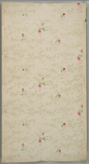 "Repeating large and small pink floral motif with white mica and pale green cloud-like background. Cream ground. Printed in pinks, greens and liquid white mica. Printed in right selvedge: ""S.A. Maxwell & Co."""