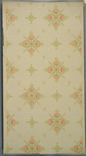 "Art nouveau style. Alternating large and small floral medallions (of stylized tulips) and S-scrolls. Background of hexagonal dot grid. Cream ground. Printed in light green, light pink, light blue and grey. Printed in selvedge: ""Carey Bros. W. P. Mfg. Co.""  ""I"""