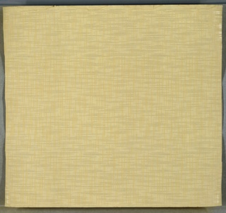Intersecting discontinuous beige and white mica stripes/lines. Light beige ground. Slight water damage.