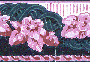 Horizontal rectangle. Narrow border with undulating band of pink roses and green intertwining stems. Printed in colors.