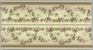On white-gray ground, garlands of green leaves, red and white flowers, white sprays. Bands in green and red with white beaded border. Printed two borders across the width.