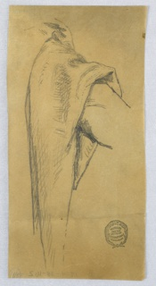 Study of what looks like an over-sleeve, on standing figure.