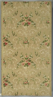 """Alternating large and small foral bouquets connected by foliate scrolls and floral swag. background has thin brown lines and white mica moires. Tan ground. Printed in pinks, greens, yellow, light blue, cream and light brown. Printed in right selvedge: """"S.A. Maxwell & Co. New York & Chicago"""" Pattern number """"2234"""" """"MB"""". Printed in left selvedge: """"12 Exclusive Design"""""""