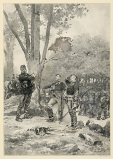 Two soldiers reporting to an officer after a battle. Other soldiers grouped in the background.