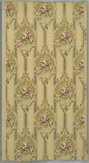 Floral medallions with rose swags and foliate scrolls. Background of lace-like bands. Beige ground. Printed in tans, pinks, greens, gold mica, and silver mica. 