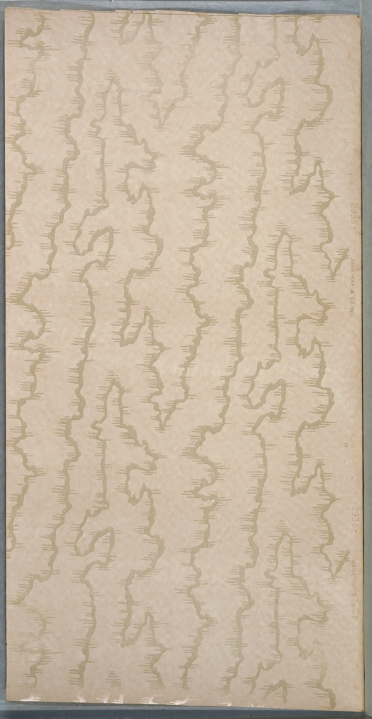 """White mica moire on a thin white mottled ground.  Printed in selvedge: """"Janeway & Co. Inc."""" """"2935"""""""