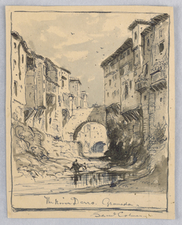 Verticle rectangle. Water and two figures in foreground. Backs of houses and porches on both sides of the stream. A bridge over the water and other bridges beyond.