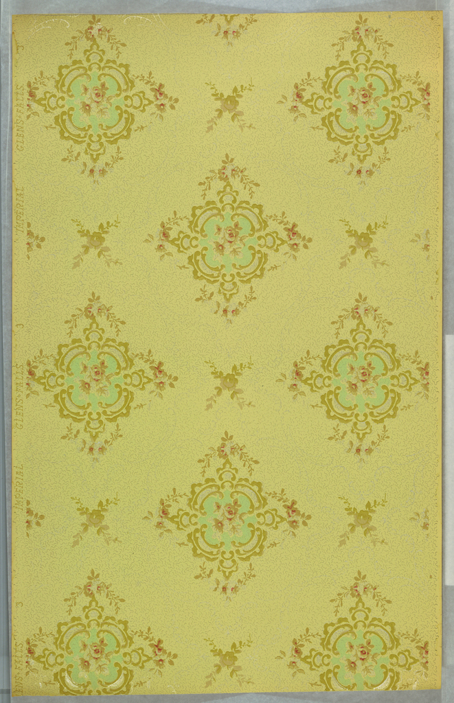 Large medallions with floral center alternates with floral sprig. Printed on dotted light green ground.