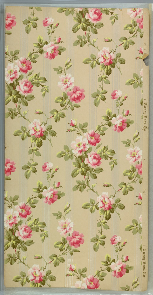 """Large pink rose vining with back-ground of white mica stripes. Beige ground. Printed in white, greens, pinks and white liquid mica. Printed in right selvedge: """"Carey Bros. Co."""" Pattern number """"208"""""""