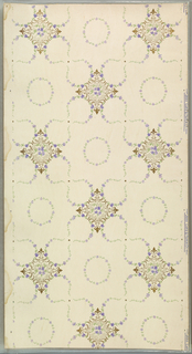Trellis pattern composed of circles and squares. The squares are filled with purple and gray flowers, while the circles and figure eight shapes are purple flowers and green foliage. Printed on an off-white ground.