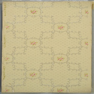 Format of overlapping squares. Each square overlaps the corner of another square, forming cross shapes. At each junction of these cross shapes is a circle containing rose buds. The background, excluding the circular areas, is filled with diamond bosses appearing to be in relief.