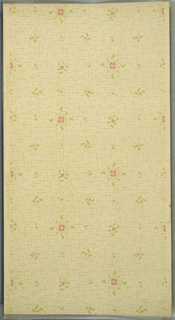 Small and stylized flower and leaf motifs of varying sizes and shapes. Intersecting short and thin vine-like (green) lines. Background of dots. Cream ground. Printed in pink and green. 