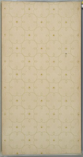 """All over floral diaper pattern with four-petal simplified small yellow flowers. Background of dotted hexagonal pattern on beige ground. Printed in yellow, light green and white liquid mica. Printed in right selvedge: """"S.A. Maxwell & Co."""" Pattern number: """"2350"""" """"B"""""""