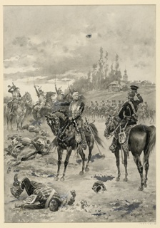 A wounded cavalry officer, on horseback, addresses another. The scene is on a field of battle.