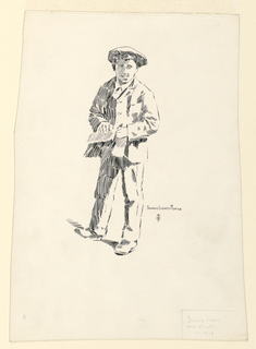 A standing boy, wearing a cap, seen frontally, holding a paper or cloth in his left hand.