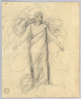 Sketch for Christ in the painting in the chancel of St. Bartholomew, New York City. Shown slightly oblique, with lowered head and somewhat raised arms. He wears a tunic and a wrapper, the upper edge of which stretches from the right hip to the left armpit.
