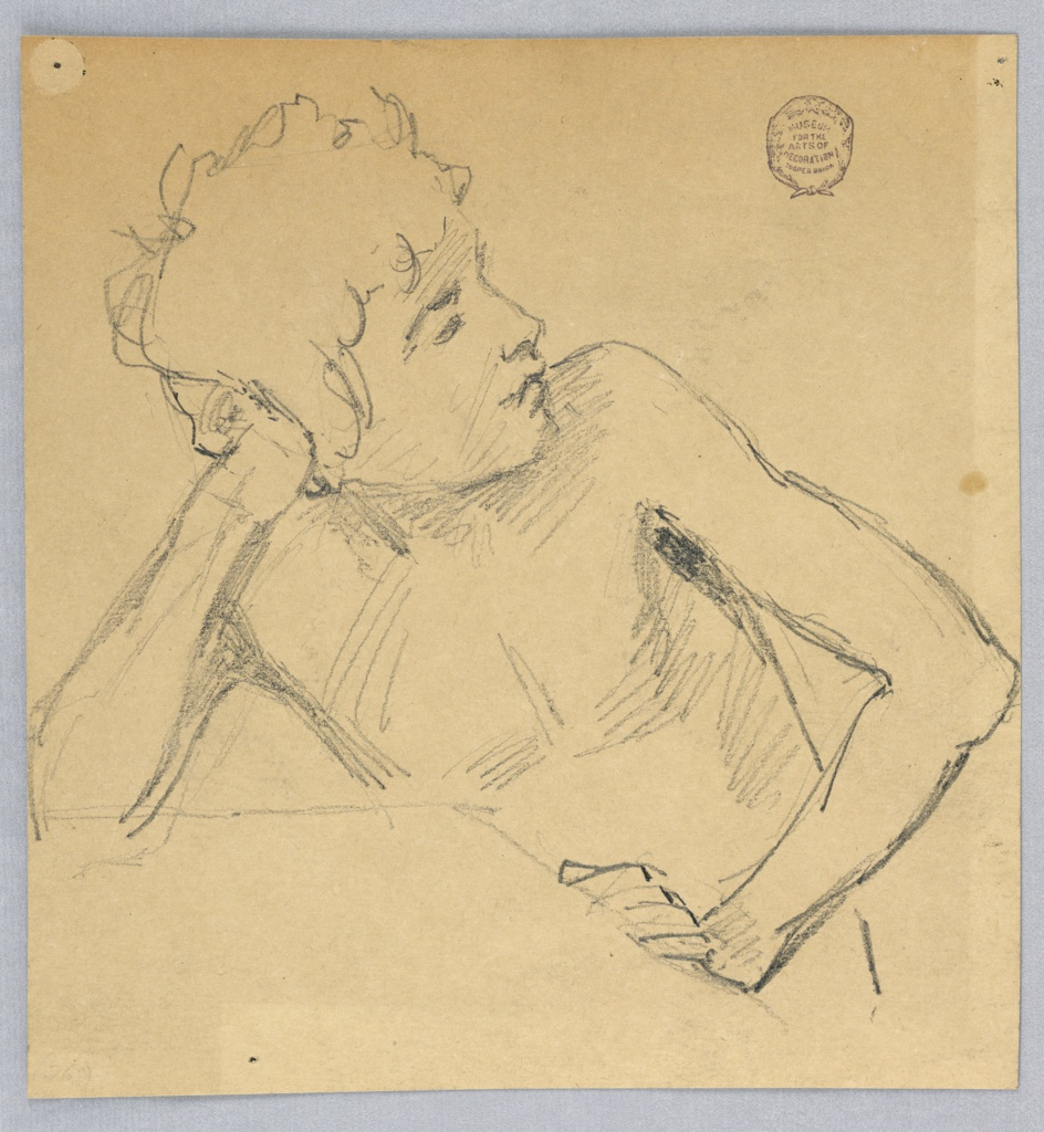 Half-figure with bare chest. The head leans on the right hand and is turned toward the left shoulder. The right elbow and left hand lean on a squared surface.