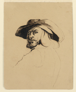 Drawing, Head of a man in the style of Frans Hals